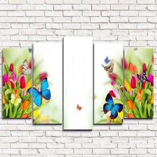 "Модульная картина ""Бабочки на тюльпанах 5"""