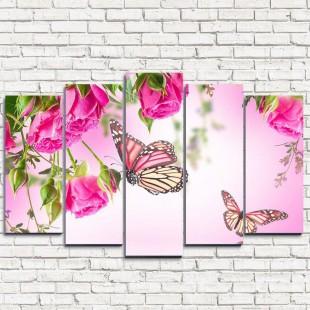 """Модульная картина """"Бабочки у воды 5"""""""