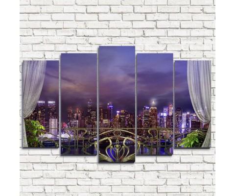 """Модульная картина """"Балкон в Нью-Йорк 5"""""""
