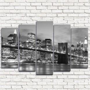 """Модульная картина """"Бруклинский мост черно-белый 5"""""""