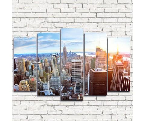 """Модульная картина """"Закат в Нью-Йорке 5"""""""