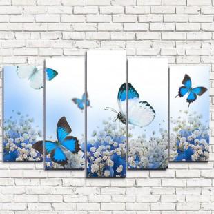 """Модульная картина """"Голубые бабочки 5"""""""