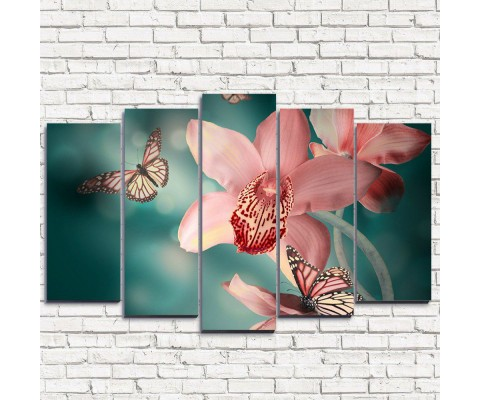 """Модульная картина """"Лилия и бабочки 5"""""""