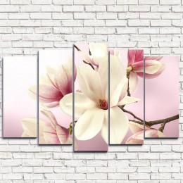 """Модульная картина """"Нежные розовые цветочки 5"""""""