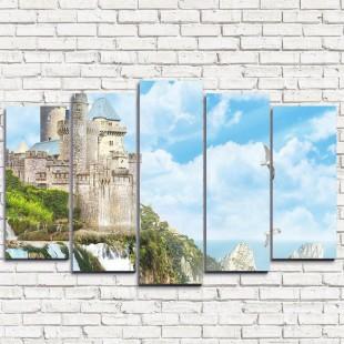 """Модульная картина """"Замок с водопадом 5"""""""