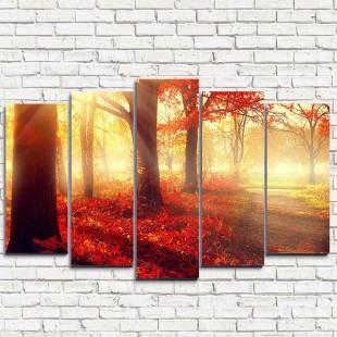 """Модульная картина """"Красный лес 5"""""""