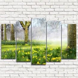 """Модульная картина """"Нарциссы в лесу 5"""""""