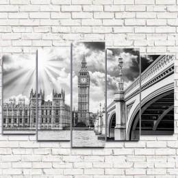 """Модульная картина """"Лондон черно-белый 5"""""""