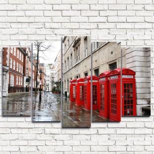 """Модульная картина """"Лондонские телефоны 5"""""""