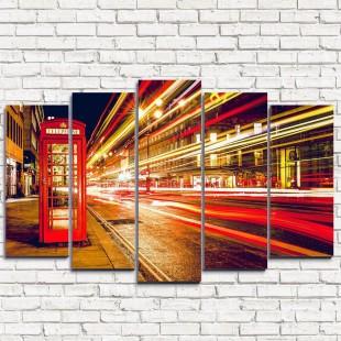 """Модульная картина """"Ночные улицы Лондона 5"""""""