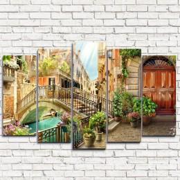 """Модульная картина """"Старинный мост в Венеции 5"""""""