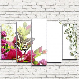 """Модульная картина """"Букет цветов с бабочками 5"""""""