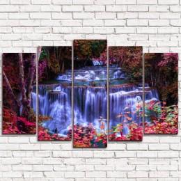 "Модульная картина ""Водопад в лесу 5"""