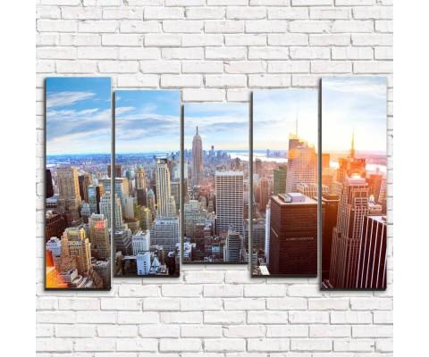 """Модульная картина """"Закат в Нью-Йорке 5-2"""""""
