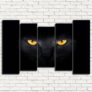 """Модульная картина """"Черный кот 5-2"""""""