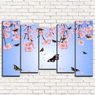 """Модульная картина """"Бабочки и цветы 5-2"""""""