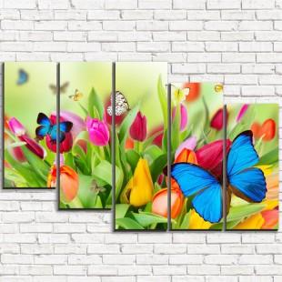 "Модульная картина ""Бабочки на цветах 5-3"""