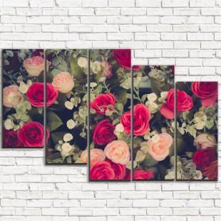 """Модульная картина """"Весенние розы 5-3"""""""