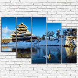 """Модульная картина """"Японский замок весной 5-3"""""""