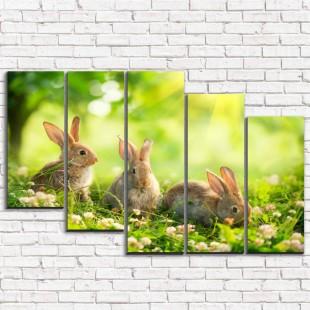 """Модульная картина """"Кролики на поляне 5-3"""""""