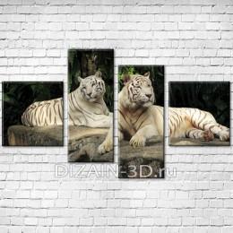 """Модульная картина """"Белые тигры"""""""