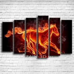 """Модульная картина """"Огненная лошадь"""""""