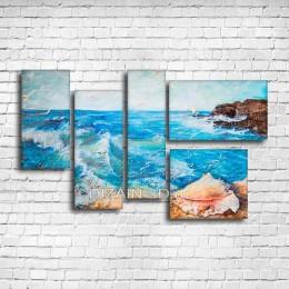 """Модульная картина """"Неспокойное синее море"""""""