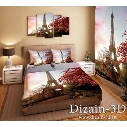 """Постельное белье """"Париж Красные листья на фоне Эйфелевой башни"""""""