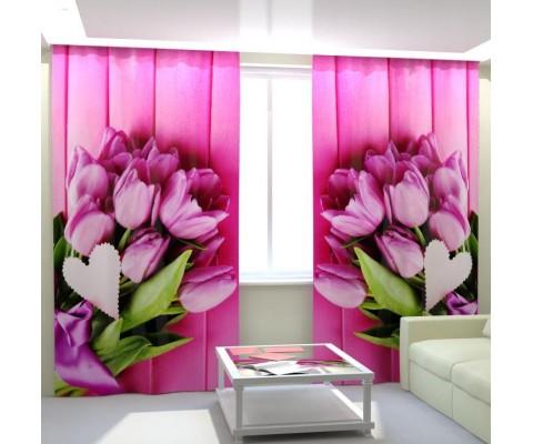 """ФотоШторы """"Букеты розовых тюльпанов"""""""