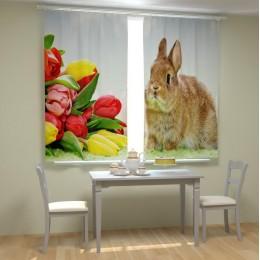"""ФотоШторы """"Кролик с тюльпанами"""""""