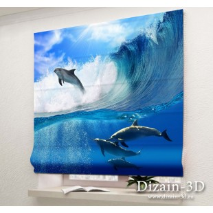 """Римские ФотоШторы """"Дельфины"""""""