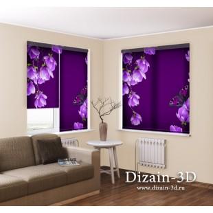 """Рулонные ФотоШторы """"Цветы магнолии на пурпурном фоне"""""""