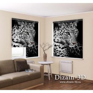 "Рулонные ФотоШторы ""Два леопарда"""