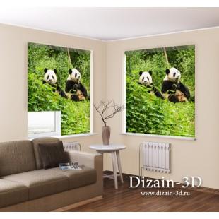 "Рулонные ФотоШторы ""Счастливые панды"""